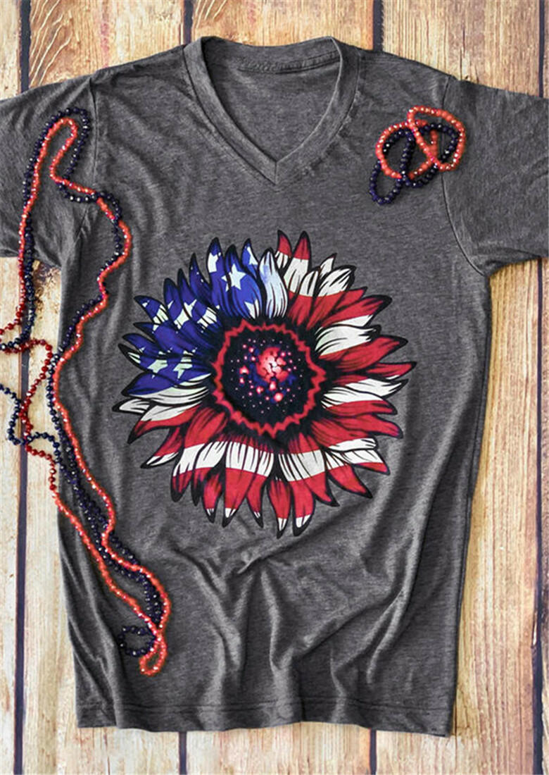 Star American Flag Sunflower T-Shirt Tee - Gray