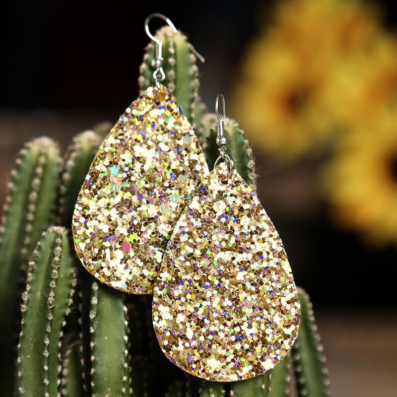 Earrings Water Drop Sequined Earrings. Size: One Size фото