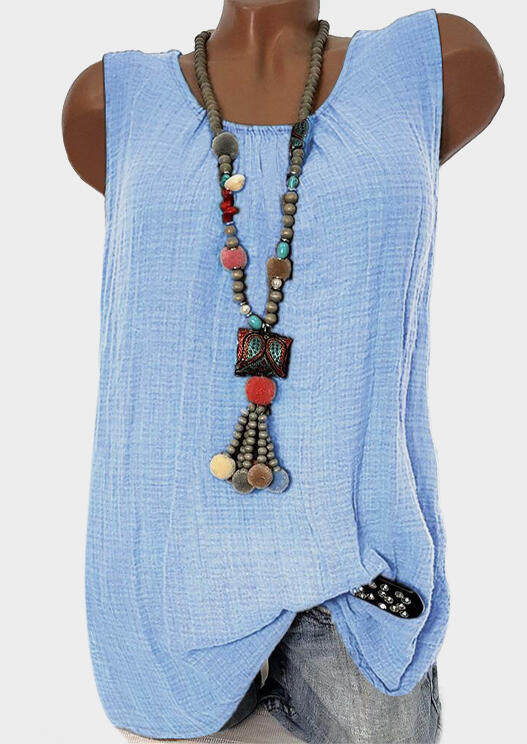 Solid Ruffled O-Neck Tank without Necklace – Sky Blue