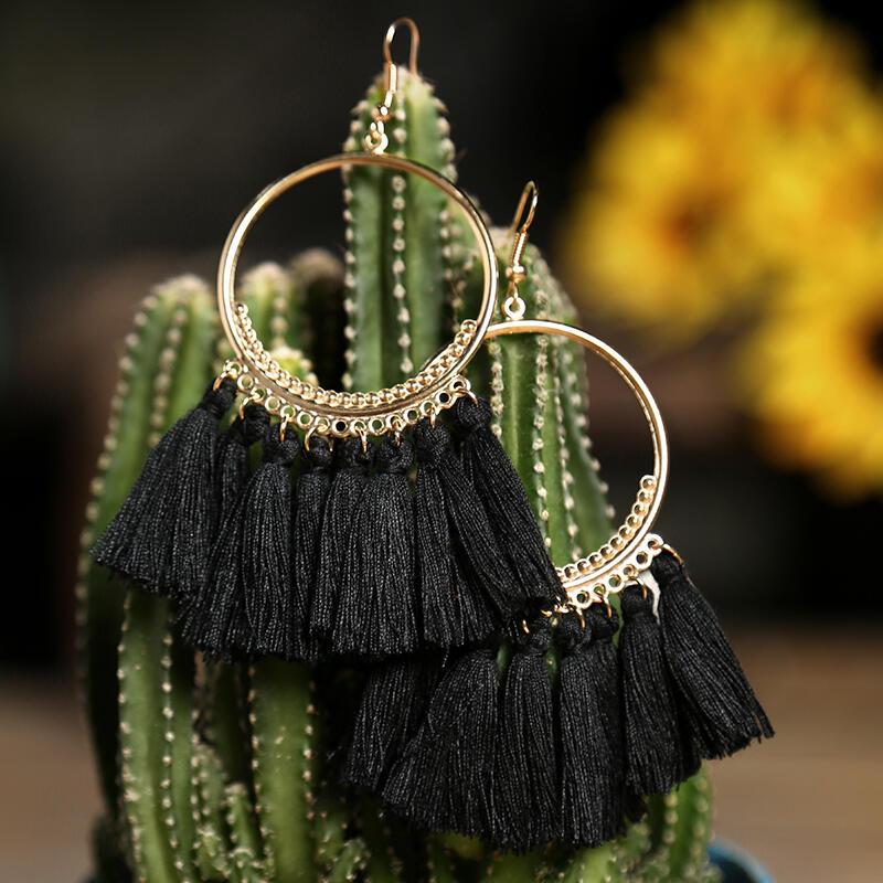 Earrings Bohemian Ethnic Tassel Earrings. Size: One Size