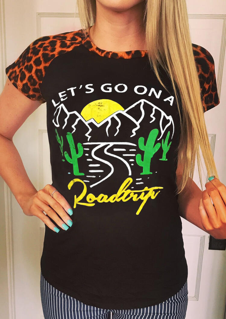 Let's Go On A Road Trip Leopard Printed T-Shirt Tee – Black