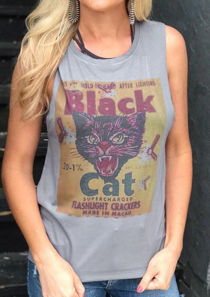 Black Cat O-Neck Tank – Gray