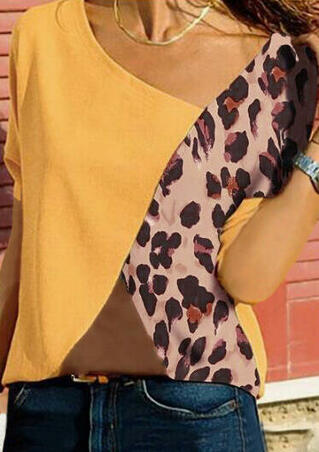 Leopard Printed Splicing O-Neck Blouse without Necklace - Yellow