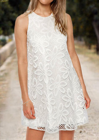 Solid Lace Mini Dress - White