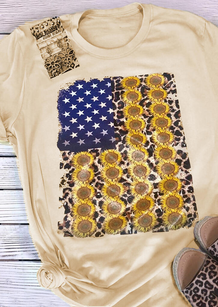 American Flag Sunflower T-Shirt Tee – Flesh