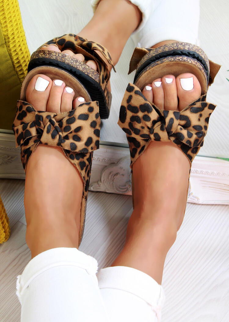 Slippers Leopard Printed Bow Tie Slippers - Leopard. Size: 38,39,40,41,42