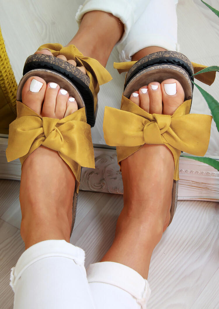 Summer Solid Slip On Bowknot Slippers – Yellow