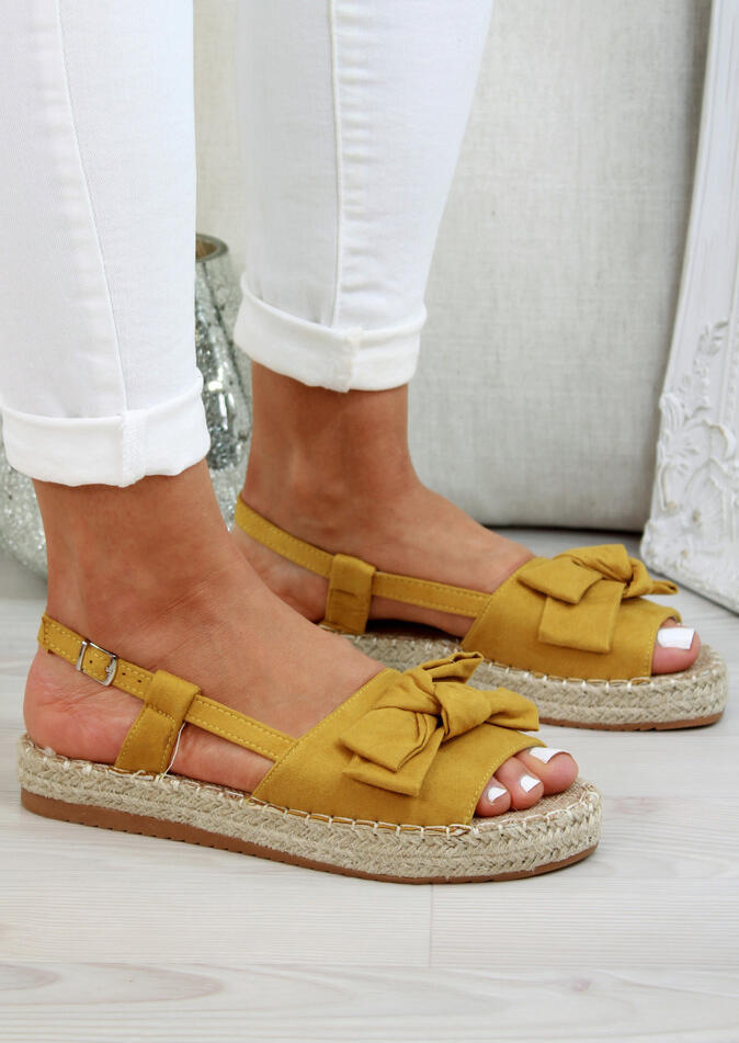 FairySeason / Solid Bowknot Peep Toe Sandals - Yellow