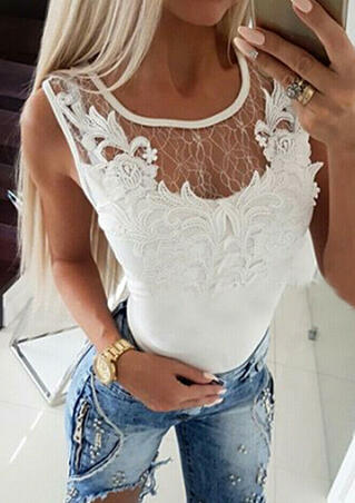 Solid Lace Splicing O-Neck Tank - White