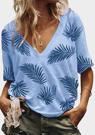 Leaf V-Neck Blouse without Necklace - Sky Blue