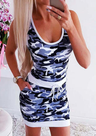 Camouflage Printed Pocekt Drawstring Bodycon Dress - Camouflage