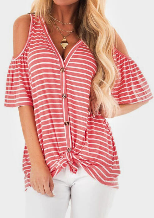 Striped Button Cold Shoulder Blouse without Necklace – Stripe