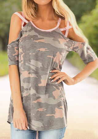 Camouflage Printed Criss-Cross Cold Shoulder Blouse