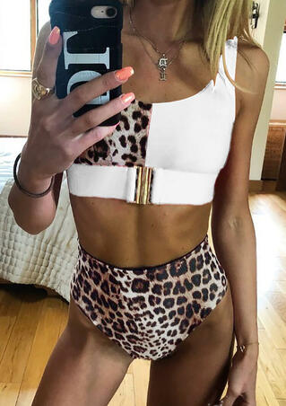Leopard Printed Splicing High Waist Bikini Set without Necklace - White