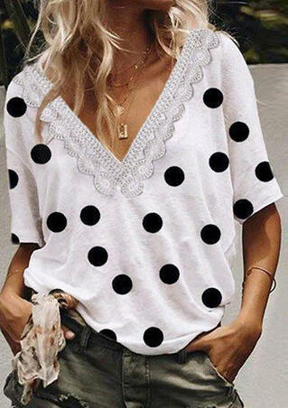 Polka Dot Lace Splicing Blouse without Necklace - White