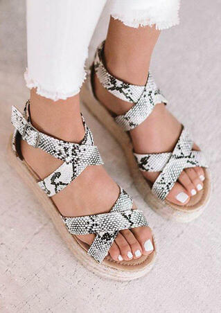 Summer Snake Skin Printed Criss-Tied Sandals