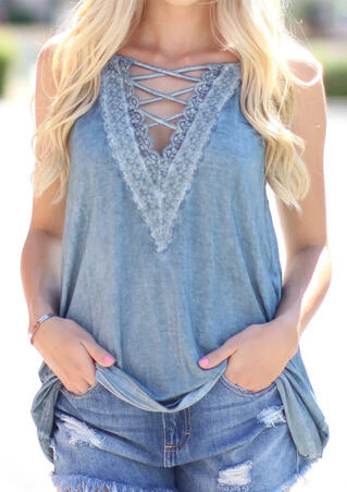 Solid Lace Splicing Criss-Cross Tank - Blue