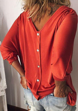 Solid Button V-Neck Blouse without Necklace - Red