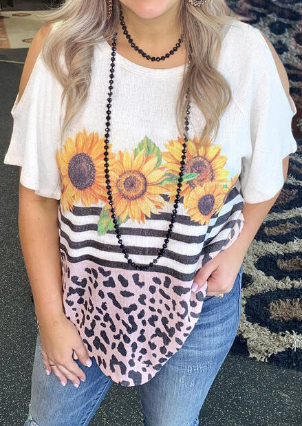 Leopard Printed Sunflower Cold Shoulder Blouse without Necklace - White фото