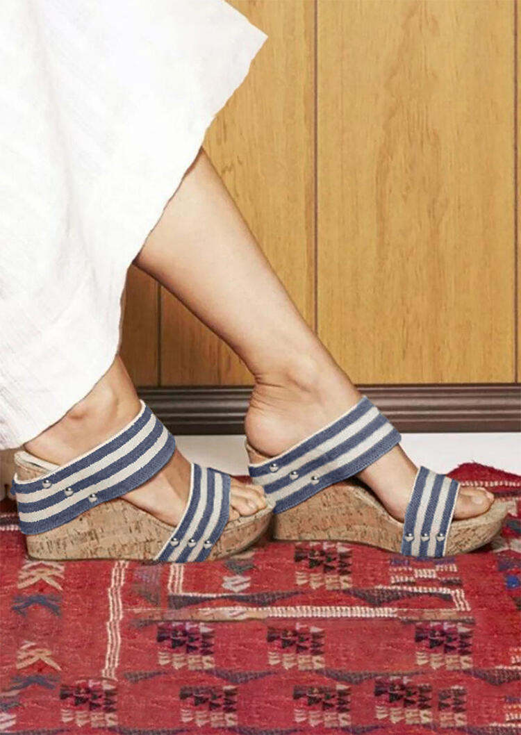 Summer Striped Round Toe Wedge Sandals