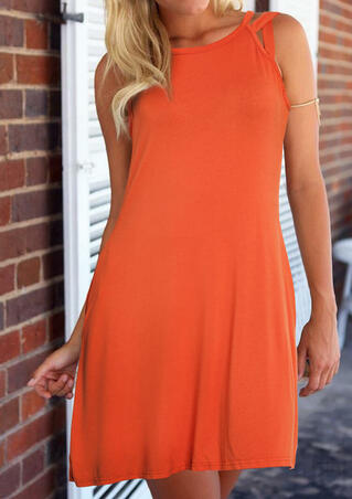 Solid Hollow Out Mini Dress - Orange
