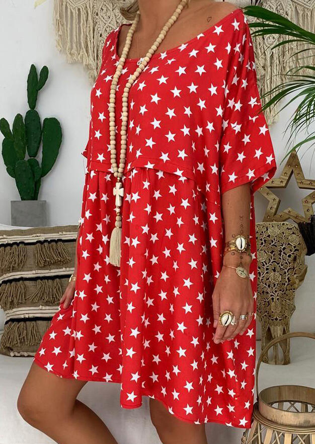 Star Printed Casual Dress without Necklace – Watermelon Red