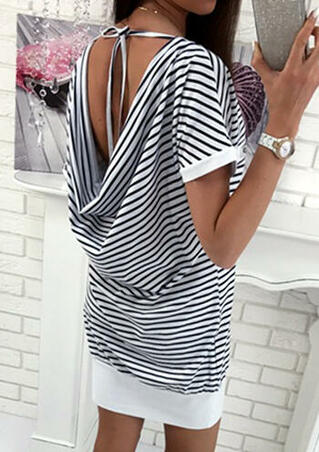 Striped Tie Open Back Mini Dress