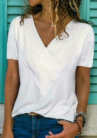 Solid Ruffled V-Neck Blouse without Necklace - White