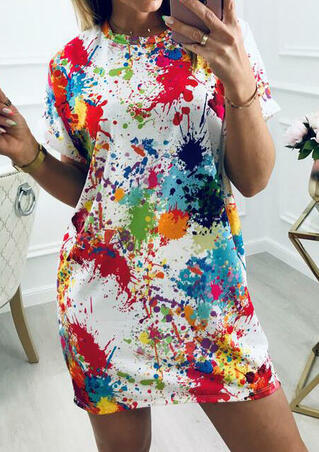 Multicolor Splash Ink Mini Dress without Necklace - White