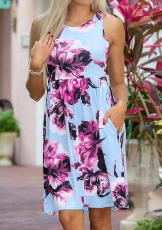 Floral Sleeveless Mini Dress - Light Blue