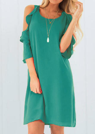 Solid Cold Shoulder Mini Dress without Necklace - Green