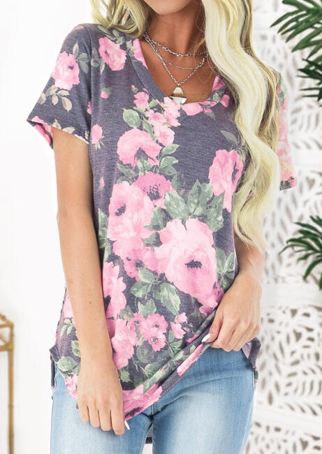 Floral V-Neck Blouse without Necklace – Gray