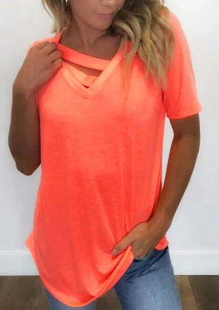 Solid Hollow Out Blouse - Brilliant Orange