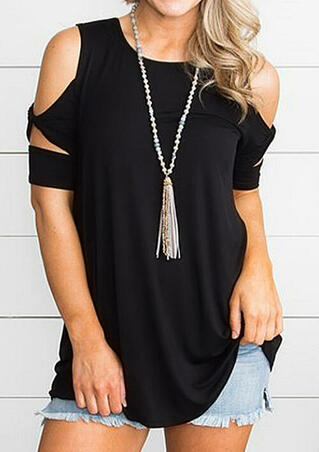 Solid Cold Shoulder Twist Blouse without Necklace - Black