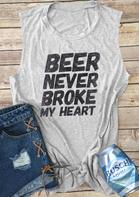 Beer Never Broke My Heart Tank - Gray