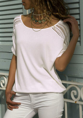 Solid Hollow Out Blouse without Necklace - White