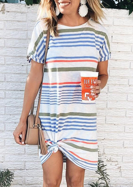 Striped O-Neck Mini Dress – White