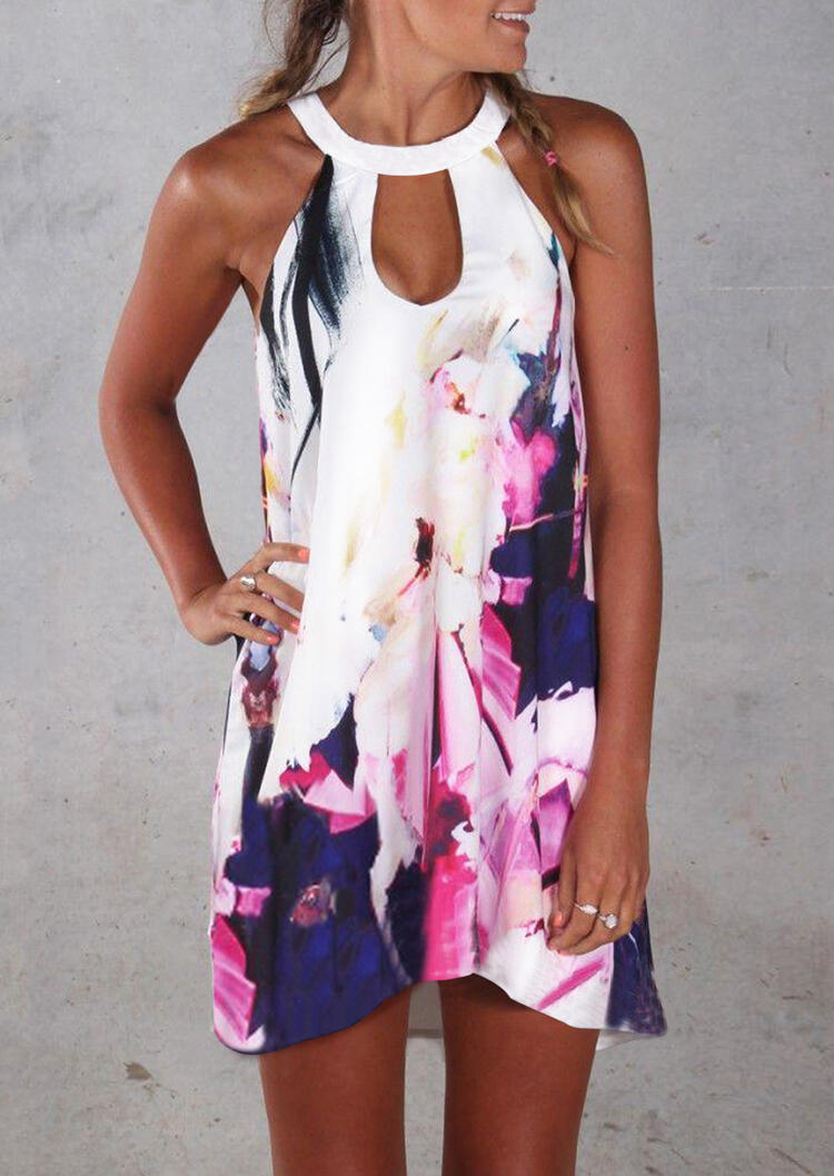 Printed Hollow Out Halter Mini Dress – White