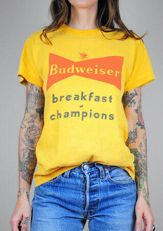 Budweiser Breakfast Of Champions T-Shirt Tee - Yellow