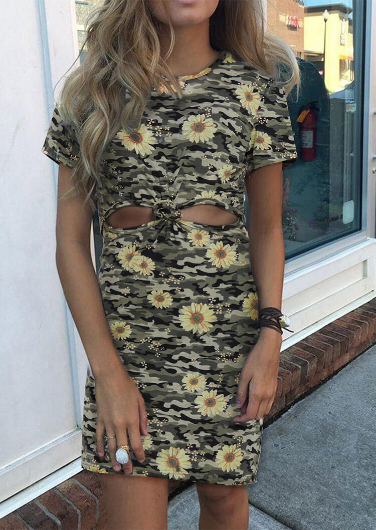 Daisy Camouflage Printed Hollow Out Mini Dress