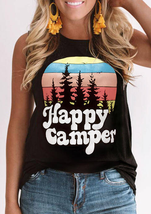 Happy Camper O-Neck Tank - Black
