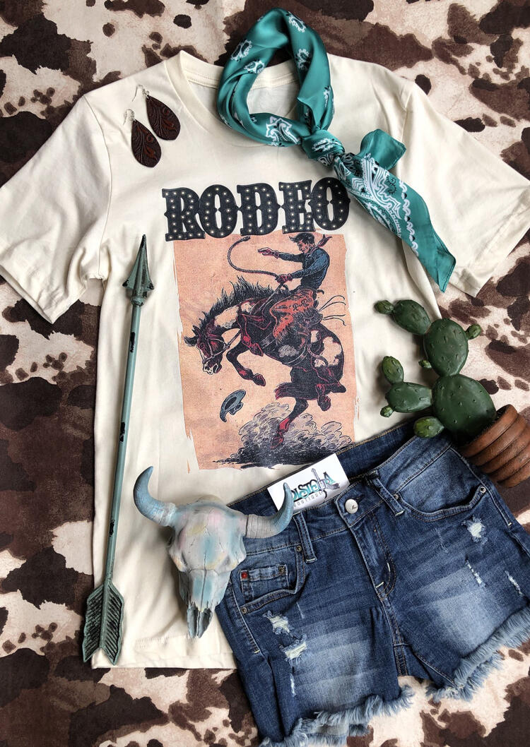 Rodeo Horse O-Neck T-Shirt Tee - White