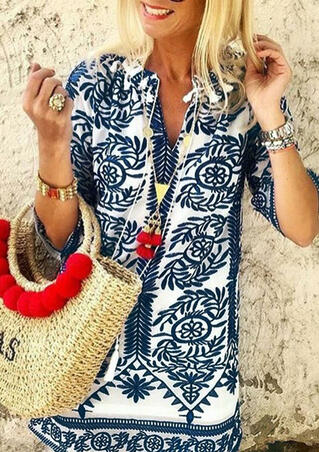 Printed V-Neck Blouse without Necklace - Navy Blue