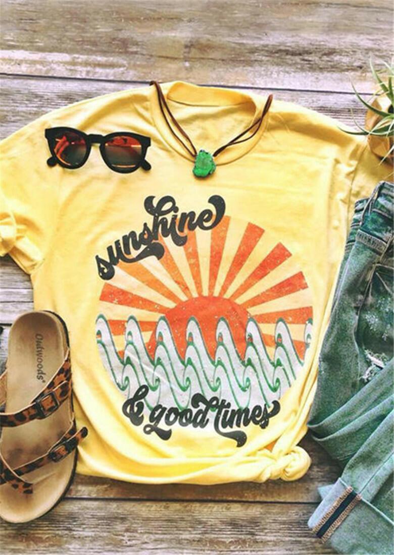 Sunshine & Good Times O-Neck T-Shirt Tee - Yellow фото