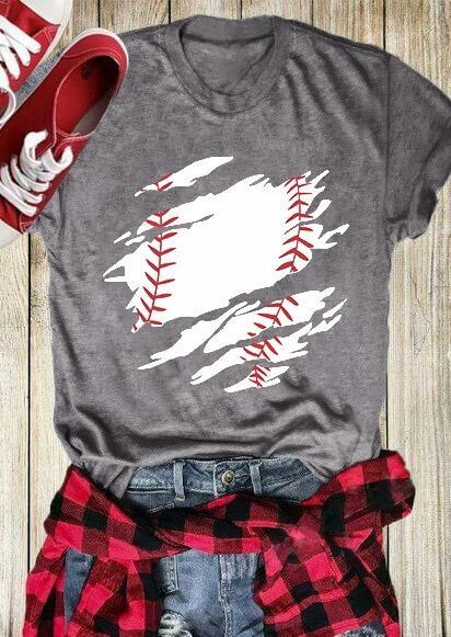 Tees T-shirts Baseball O-Neck Short Sleeve T-Shirt Tee in Gray. Size: S фото