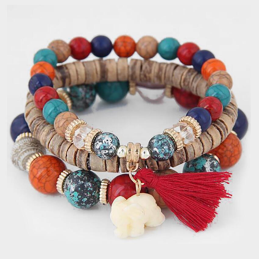 Elephant Tassel Bead Bracelet фото