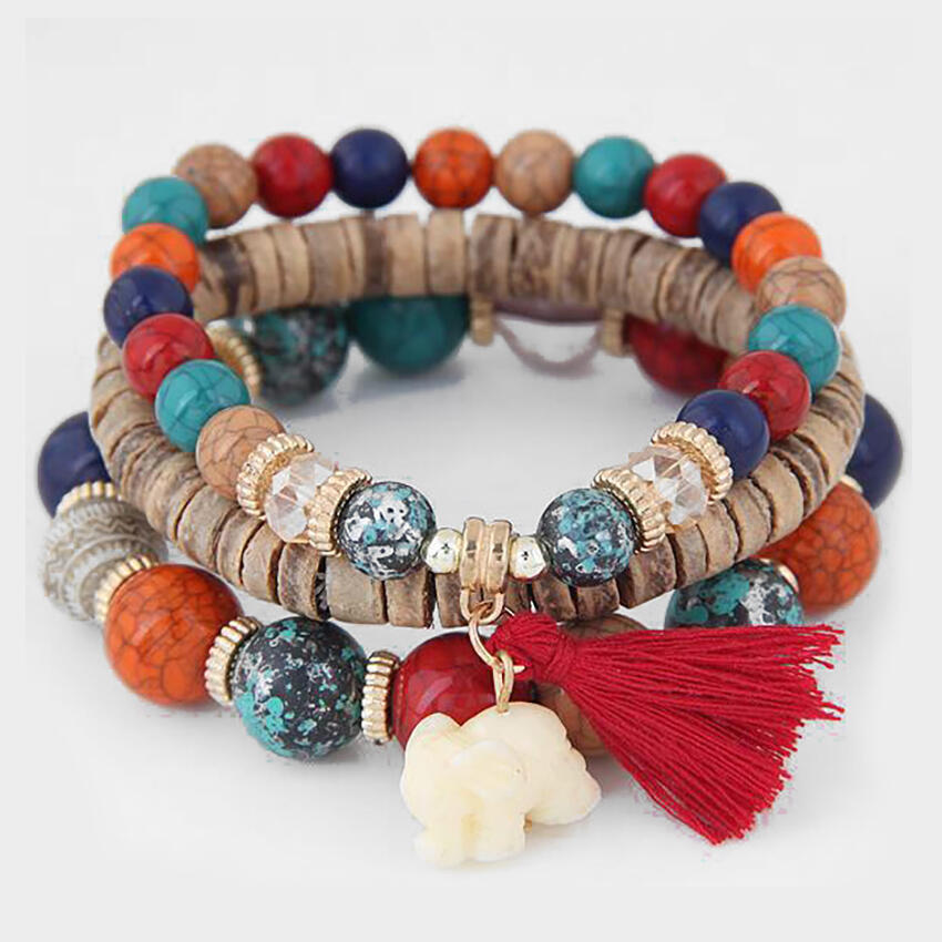 Chakra Bead Bracelet with Tassel for Women in Multicolor. Size: One Size фото