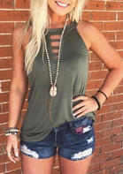 Hollow Out Tank without Necklace - Army Green
