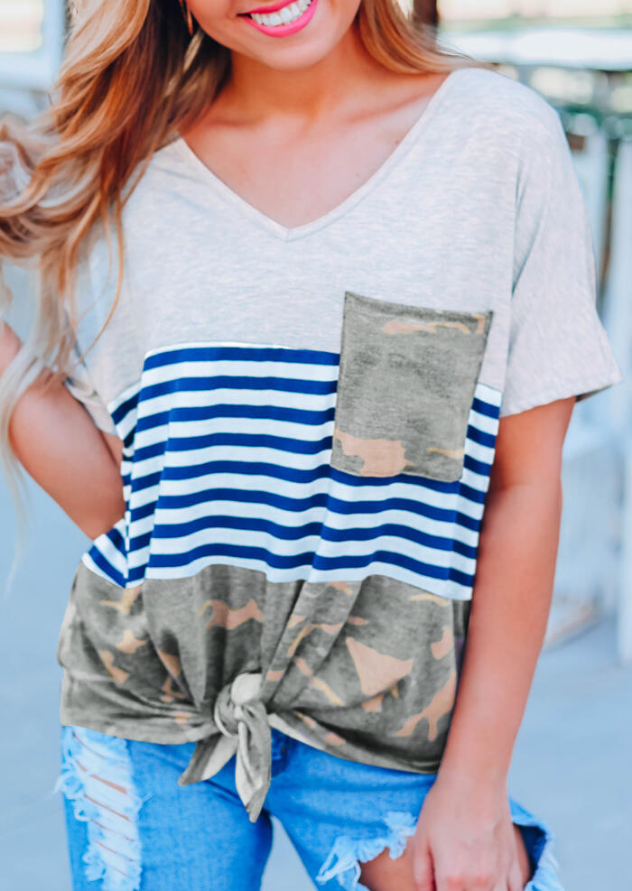 Camouflage Printed Striped Pocket Tie T-Shirt Tee – Light Grey
