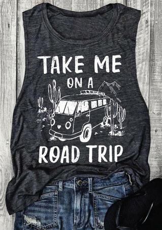 Take Me On A Road Trip Tank - Dark Grey
